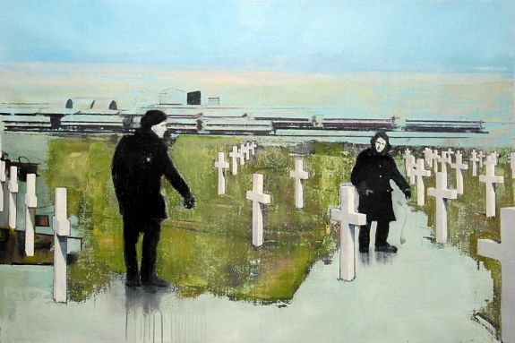 Figures with Trains and Crosses - Andrew Hollis 2010
