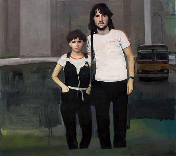 Couple with Buildings and Bus - Andrew Hollis 2011