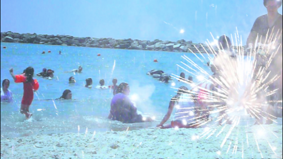 Fireworks on Blue Beach - Helen Carmel Benigson <br>(Princess Belsize Dollar) 2011